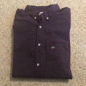 Lacoste L!ve Button Front Shirt 40 Med Plaid